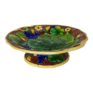 1990s Vintage Mottahedeh Majolica Footed Compote For Sale