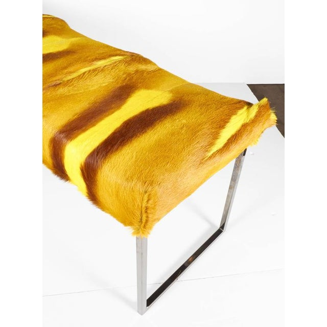 Organic Modern African Springbok Fur Bench in Vibrant Yellow For Sale - Image 4 of 9