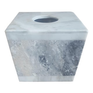 Vintage Modernist Solid Marble Tissue Box For Sale