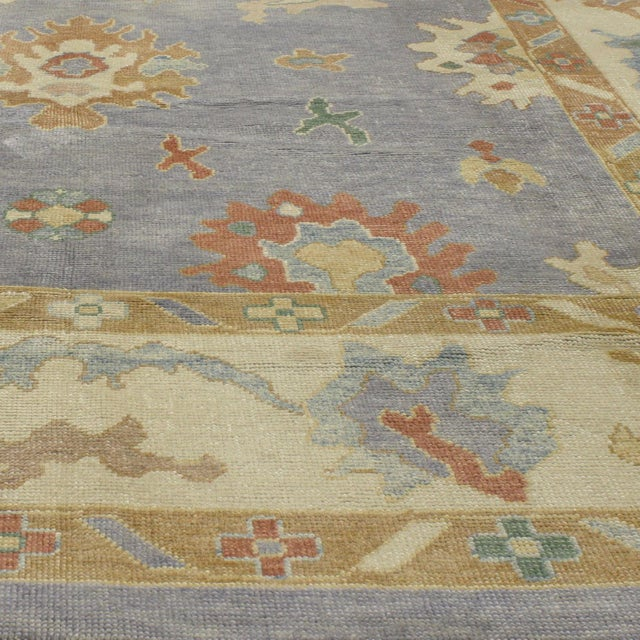 Contemporary Turkish Oushak Rug in Pastel Colors Boho Chic Style, 9'5 x 12'5 For Sale - Image 5 of 8