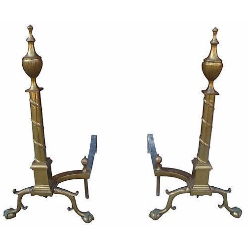 French Empire Brass Fireplace Andirons - Pair - Image 1 of 4