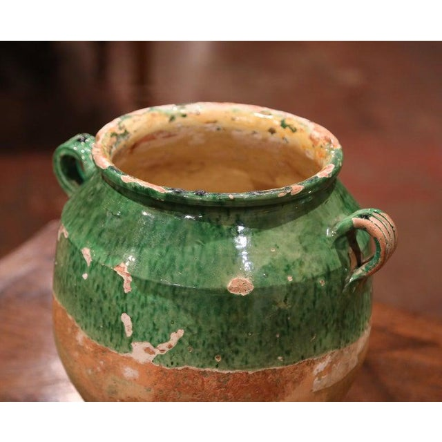 Late 19th Century 19th Century Green Glazed Pottery Confit Pot From Southwest France For Sale - Image 5 of 7