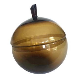 Vintage Mid Century Modern Rare Morgantown Art Glass Smoke Brown Covered Apple Candy Dish Bowl For Sale