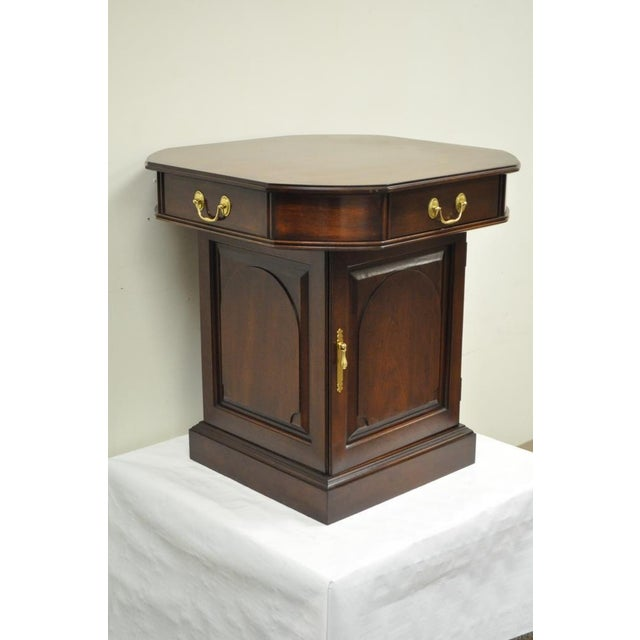Vintage Harden Solid Cherry Octagonal Storage Cabinet Occasional Side End Table For Sale - Image 11 of 11