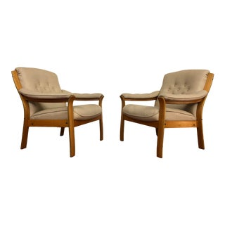 Vintage Teak Frame Wool Upholstered Arm Chairs - a Pair For Sale
