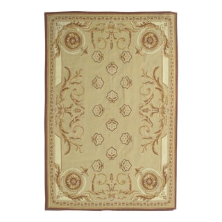 French Aubusson Design Hand Woven Wool Rug - 6' x 9' For Sale