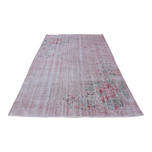 Antique Handmade Faded Area Rug - 5′8″ × 8′7″ For Sale