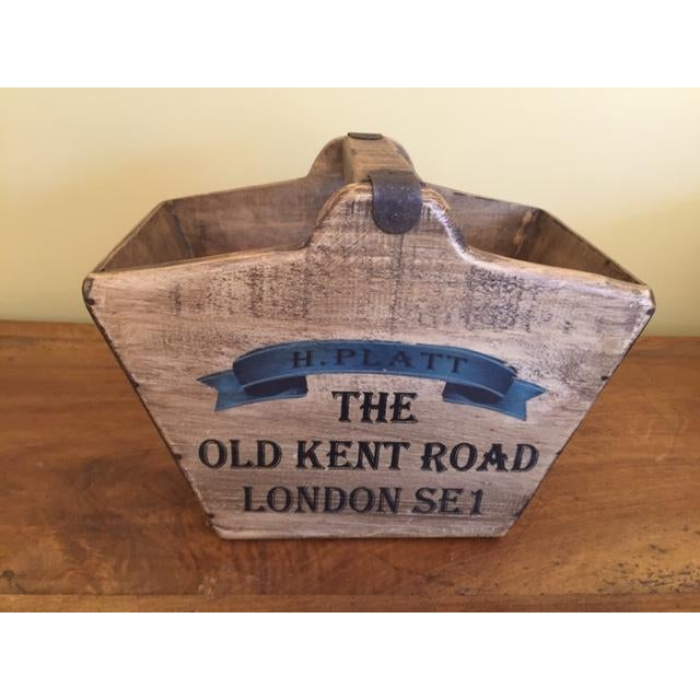 Metal Vintage Mid-Century English Wooden Basket / Fishmonger For Sale - Image 7 of 7