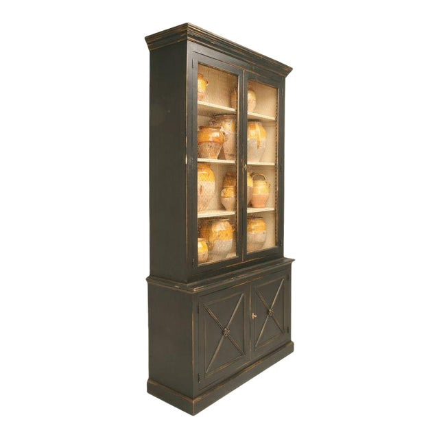 Directoire Style Painted Bookcase With Chicken Wire Doors For Sale