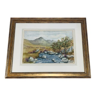 Original Watercolor Landscape of Mountains and Brook For Sale