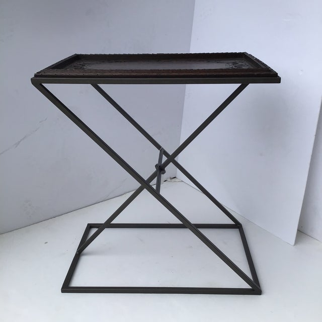 A wonderful custom made repurposed side table. It uniquely combines an antique English tray and a custom made stand with a...