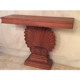 Nautical Edward Wormley Style Shell Hall Table in Raw Mahogany Preview