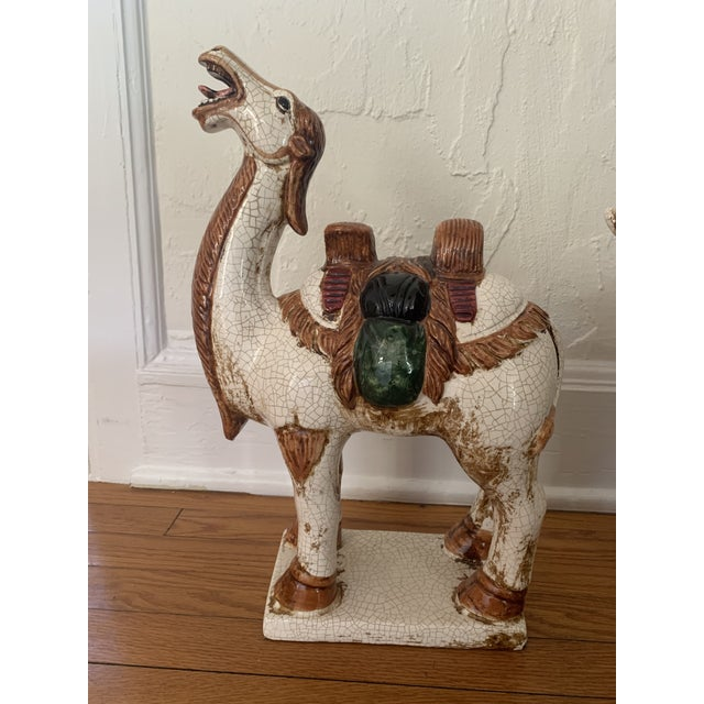 Traditional Early 20th Century Sancai-Style Ceramic Camel and Horse - Set of 2 For Sale - Image 3 of 10