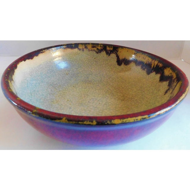 Vintage Claret and Taupe Heavy Glazed Pottery Bowl For Sale - Image 9 of 13