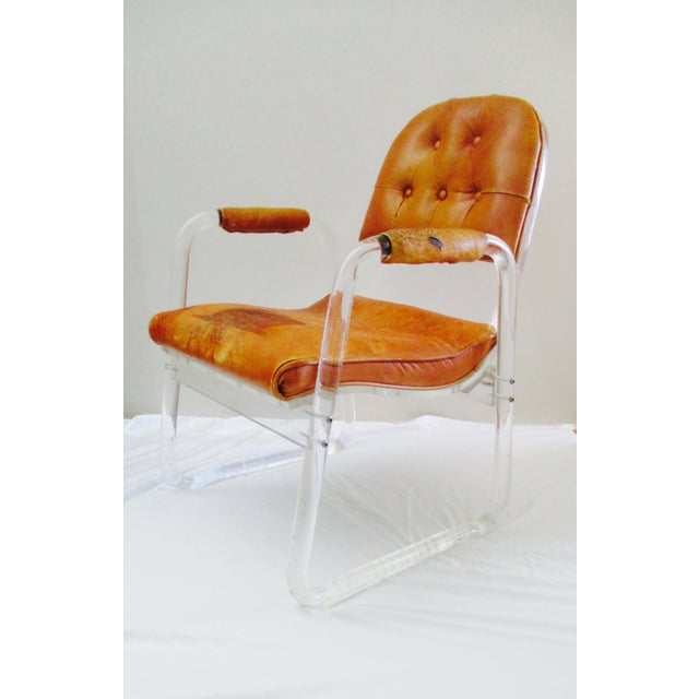 Hill Manuf Lucite and Leather Club Chair - Custom Piece For Sale - Image 13 of 13