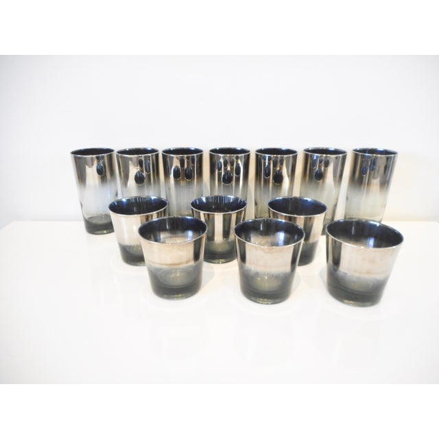 Vintage Mid-Century Dorothy Thorpe Style Silver Metallic Cocktail Glasses. Silver ombre metallic band at top. 7 tall...