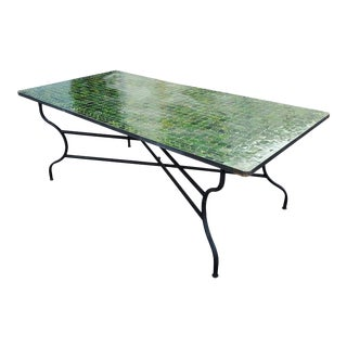 Green Rectangular Moroccan Mosaic Table - a Pair For Sale