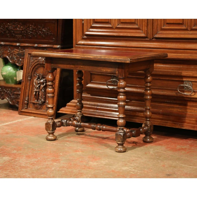 19th Century, French, Louis XIII Carved Walnut Table Desk With Red Leather Top For Sale - Image 10 of 11