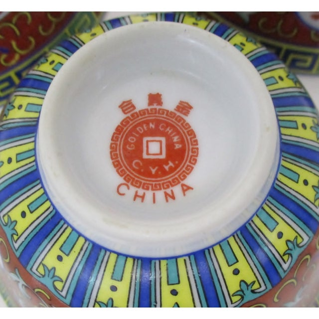 Red Mun Shou Dinnerware - Set of 8 For Sale In Los Angeles - Image 6 of 7