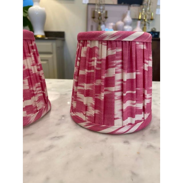 Custom Lamp Sconce Shades in Pink Ikat Fabric - Pair For Sale - Image 4 of 9
