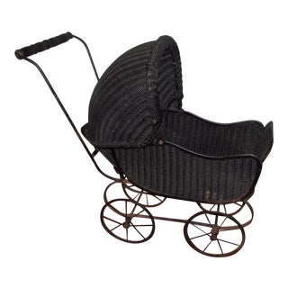 Black Wicker Child Buggy For Sale