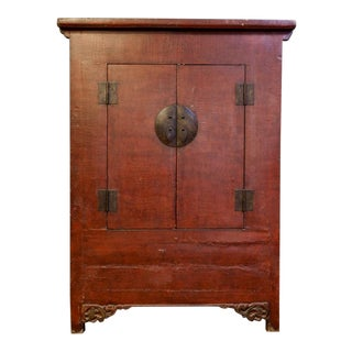 Large Antique Chinese Red Lacquer Two Drawer Storage Cabinet Armoire For Sale
