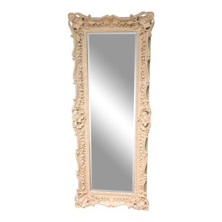 White Brocade Carved Wood Full Length Floor Mirror For Sale