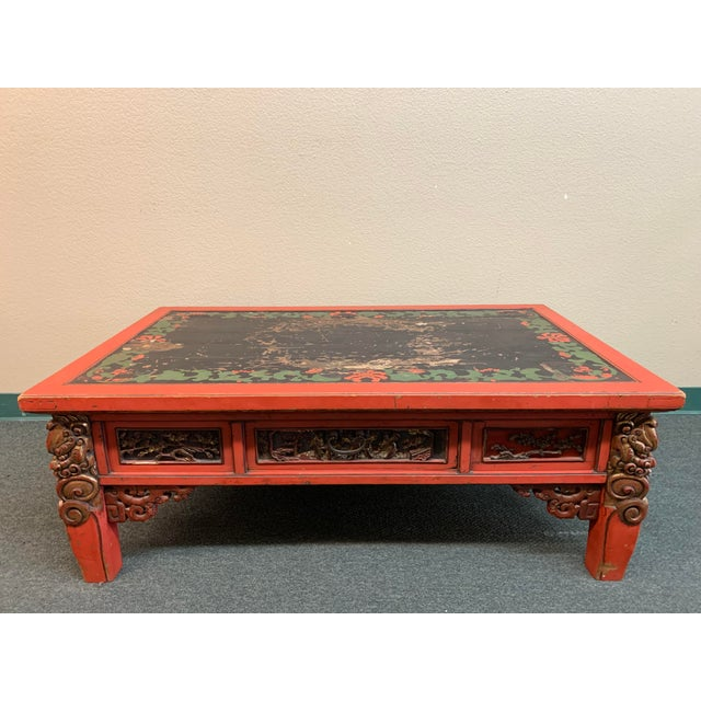 Mid-20th Century Chinese Hand Painted + Carved Coffee Table For Sale - Image 12 of 12