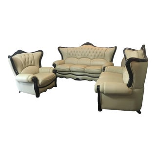 Victorian Inspired Tufted Leather Living Room Set - Set of 3 For Sale