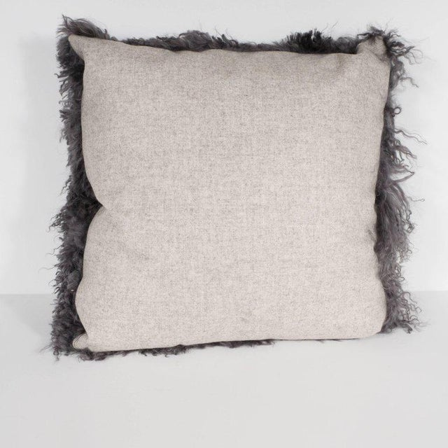 Custom Handmade Mongolian Lamb Pillow in Slate Gray with Cashmere Wool Back For Sale - Image 9 of 11