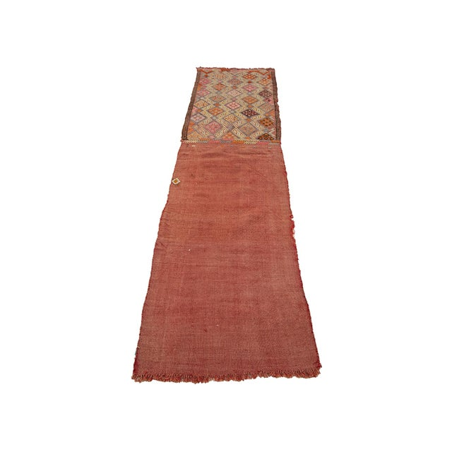 Embroidered Vintage kilim rug from Denizli region of Turkey. Approximately 45-55 years old. In very good condition