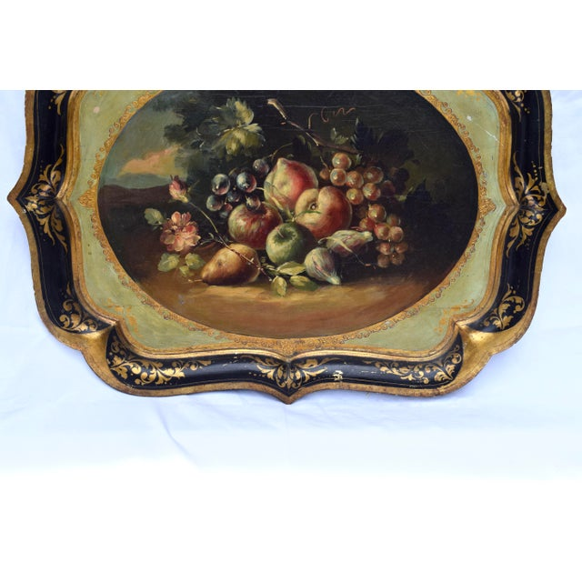 Late 20th Century Florentine Gilt Tole Fruits Motif Tray For Sale - Image 5 of 8