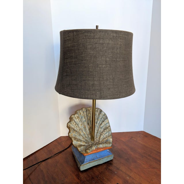 Brass 19th Century Rustic Hand-Carved Wooden Table Lamp For Sale - Image 7 of 7