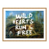 Image of Wild Hearts Run Free by Lara Fowler in Gold Framed Paper, Small Art Print For Sale