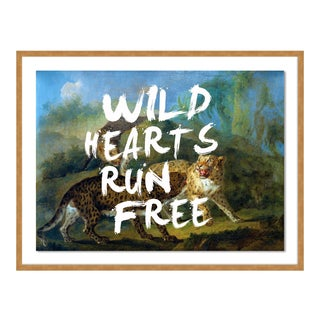 Wild Hearts Run Free by Lara Fowler in Gold Framed Paper, Small Art Print For Sale