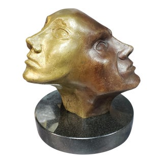 Perpetual Faces Bronze Sculpture on Black Granite Base Signed Margat, 1973 For Sale