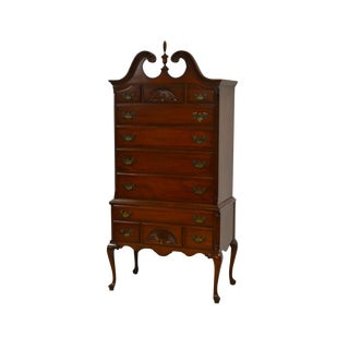 Ethan Allen Solid Mahogany Chippendale Highboy Chest of Drawers