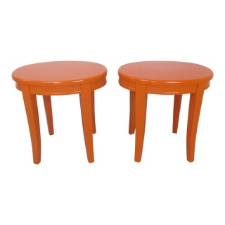 1940s Boho Chic Bloomingdales Orange Oval End Tables - a Pair