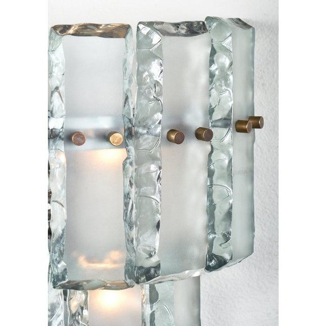 1970s Pair of Vintage Murano Glass Fontana Arte Sconces For Sale - Image 5 of 8