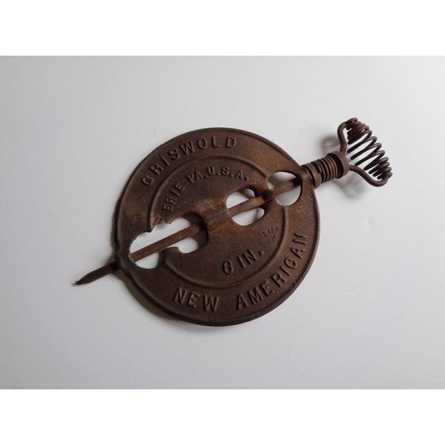 Vintage Griswold Rustic Cast Iron Stove Damper For Sale - Image 4 of 4