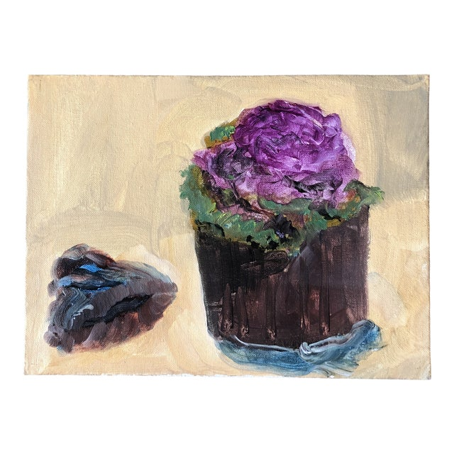 Original Contemporary Impressionist Still Life Painting With Purple Cabbage For Sale