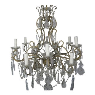 1990s Vintage French Crystal Beaded Louis XV Style Chandelier For Sale