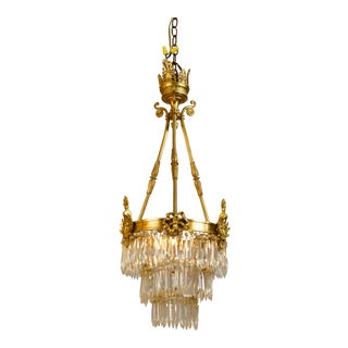 1920s Antique French Gilt Brass and Bronze Crystal Chandelier For Sale