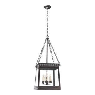Clover Square Oil Rubbed Bronze Lantern Chandelier For Sale