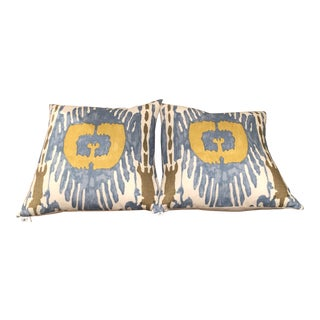 Janet Kain Home Quadrille Ikat Pillows - A Pair For Sale