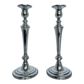 Vintage Cartier Sterling Silver Candlesticks - a Pair For Sale