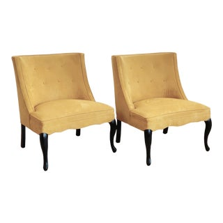 Vintage Yellow Upholstered Slipper Chairs Pair For Sale