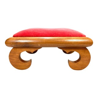 Early 20th Century Red Velvet Foot Stool For Sale
