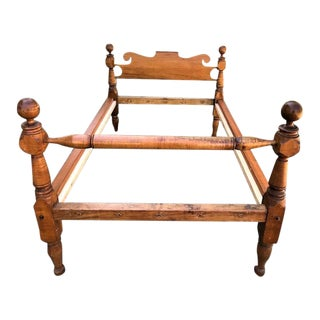 Antique American Tiger Maple 4-Poster Bedframe For Sale