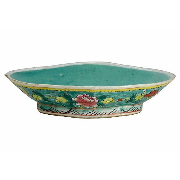 1900 - 1909 1900s Antique Aqua Chinese Oblong Bowl For Sale - Image 5 of 5